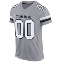 Load image into Gallery viewer, Custom Light Gray White-Black Mesh Authentic Football Jersey