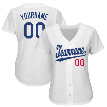 Custom White Royal-Red Baseball Jersey