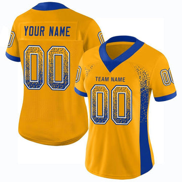 Custom Gold Royal-White Mesh Drift Fashion Football Jersey