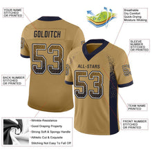 Load image into Gallery viewer, Custom Old Gold Navy-White Mesh Drift Fashion Football Jersey