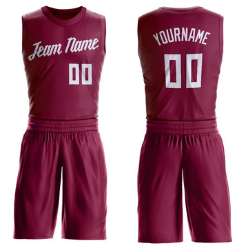 Custom Maroon White Round Neck Suit Basketball Jersey