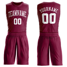 Load image into Gallery viewer, Custom Maroon White Round Neck Suit Basketball Jersey