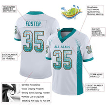 Load image into Gallery viewer, Custom White Aqua-Orange Mesh Drift Fashion Football Jersey