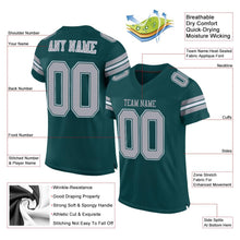 Load image into Gallery viewer, Custom Midnight Green Light Gray-White Mesh Authentic Football Jersey