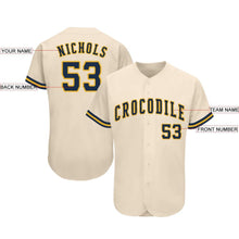 Load image into Gallery viewer, Custom Cream Navy-Gold Baseball Jersey