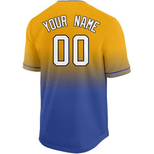 Load image into Gallery viewer, Custom Gold White-Royal Fade Baseball Jersey