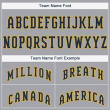 Load image into Gallery viewer, Custom Gray Navy-Gold Baseball Jersey