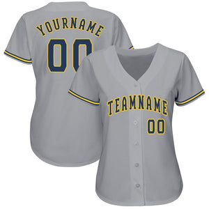 Custom Gray Navy-Gold Baseball Jersey