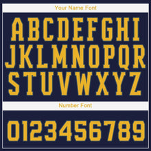 Load image into Gallery viewer, Custom Navy Gold Baseball Jersey