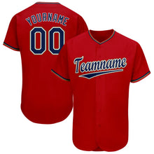 Load image into Gallery viewer, Custom Red Navy-Old Gold Baseball Jersey