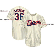 Load image into Gallery viewer, Custom Cream Navy Strip Navy-Red Baseball Jersey