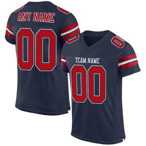 Custom Navy Red-White Mesh Authentic Football Jersey