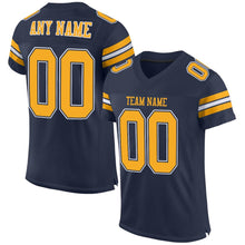 Load image into Gallery viewer, Custom Navy Gold-White Mesh Authentic Football Jersey
