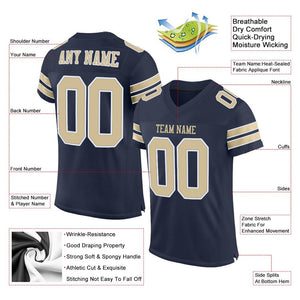 Custom Navy Vegas Gold-White Mesh Authentic Football Jersey