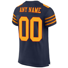 Load image into Gallery viewer, Custom Navy Gold-Red Mesh Authentic Football Jersey