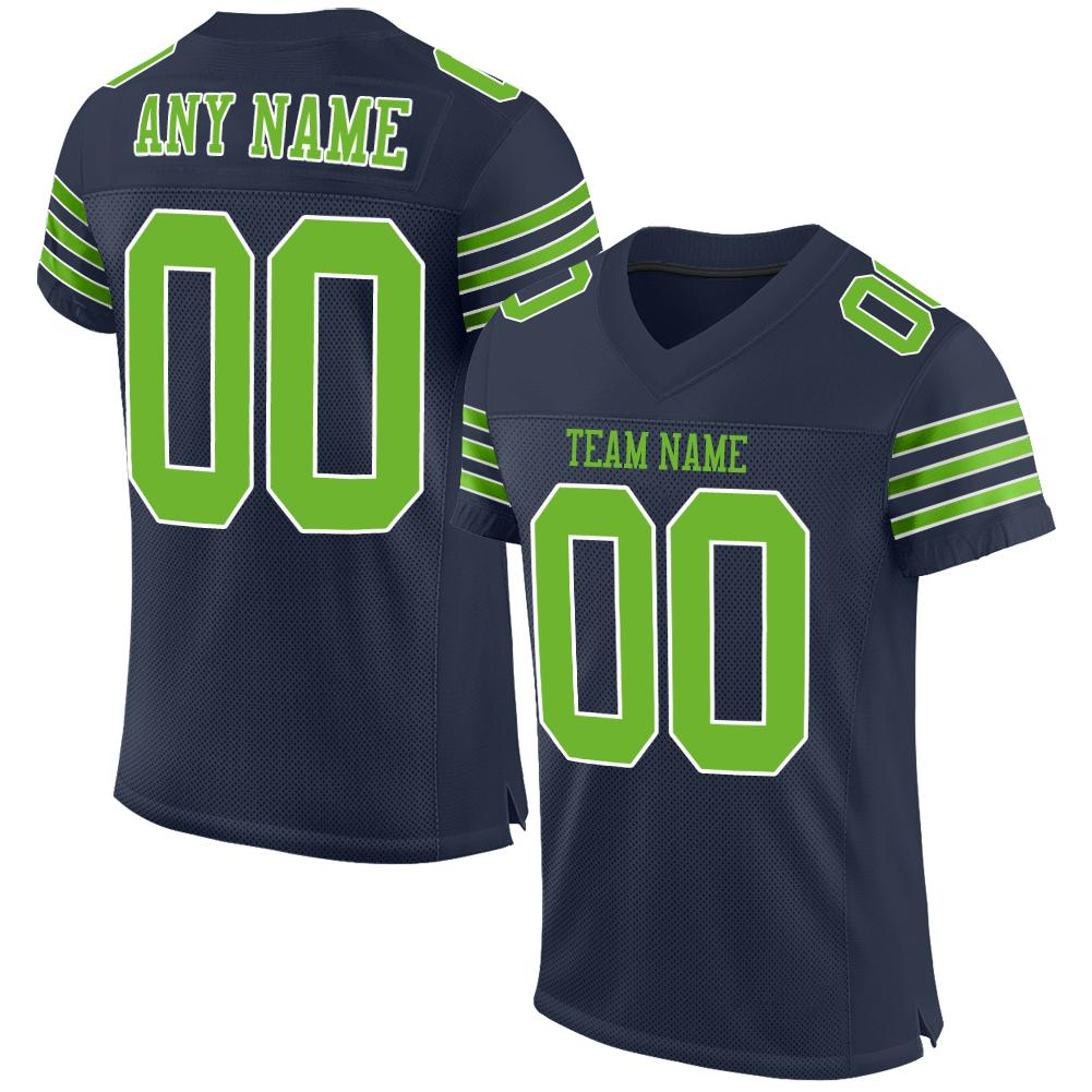 Custom Navy Neon Green-White Mesh Authentic Football Jersey