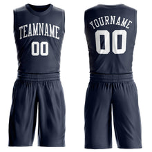 Load image into Gallery viewer, Custom Navy White Round Neck Suit Basketball Jersey