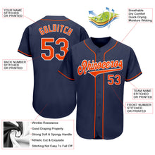 Load image into Gallery viewer, Custom Navy Orange-White Authentic Baseball Jersey