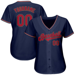 Custom Navy Red-Old Gold Authentic Baseball Jersey
