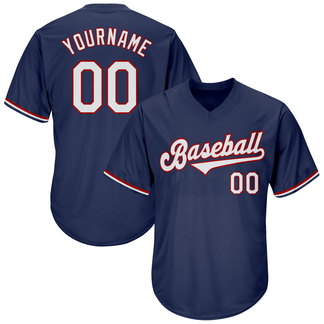 Custom Navy White-Red Authentic Throwback Rib-Knit Baseball Jersey Shirt