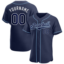 Load image into Gallery viewer, Custom Navy Navy-Powder Blue Authentic Baseball Jersey