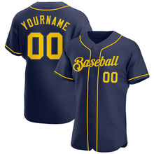 Load image into Gallery viewer, Custom Navy Gold-Navy Authentic Baseball Jersey