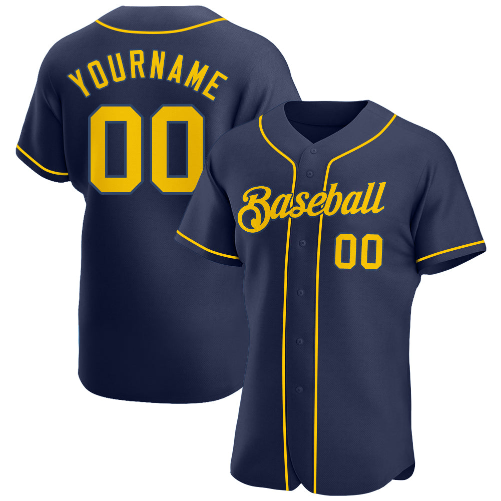 Custom Navy Gold-Navy Authentic Baseball Jersey