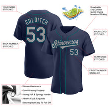 Load image into Gallery viewer, Custom Navy Gray-Aqua Authentic Baseball Jersey