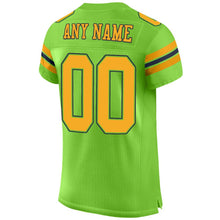 Load image into Gallery viewer, Custom Neon Green Gold-Navy Mesh Authentic Football Jersey