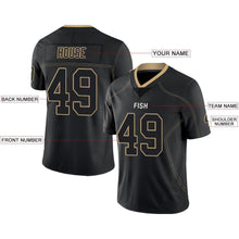 Load image into Gallery viewer, Custom Lights Out Black Vegas Gold-White Football Jersey