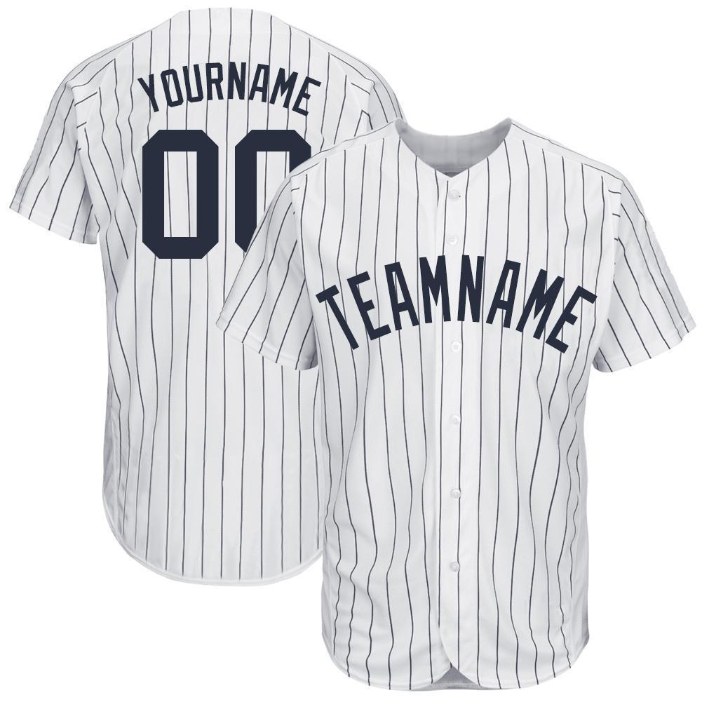 Custom White Navy Strip Navy Baseball Jersey