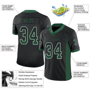 Custom Black Gotham Green-White Mesh Drift Fashion Football Jersey