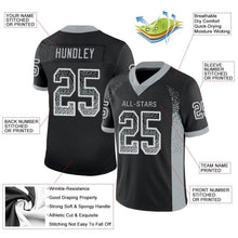 Load image into Gallery viewer, Custom Black Silver-White Mesh Drift Fashion Football Jersey