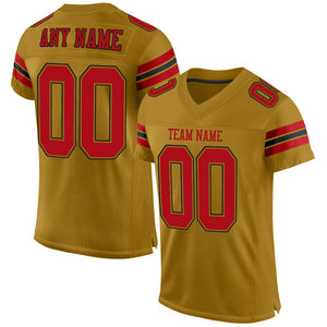Custom Old Gold Red-Black Mesh Authentic Football Jersey