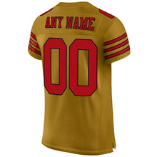 Load image into Gallery viewer, Custom Old Gold Red-Black Mesh Authentic Football Jersey
