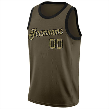 Custom Olive Camo-Black Round Neck Rib-Knit Salute To Service Basketball Jersey