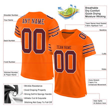 Load image into Gallery viewer, Custom Orange Burgundy-White Mesh Authentic Football Jersey