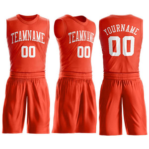 Custom Orange White Round Neck Suit Basketball Jersey