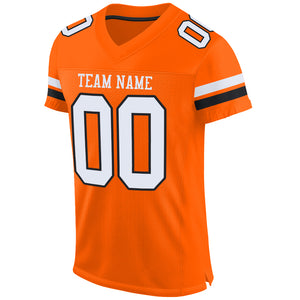 Custom Orange White-Black Mesh Authentic Football Jersey