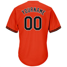 Load image into Gallery viewer, Custom Orange Black-White Authentic Throwback Rib-Knit Baseball Jersey Shirt