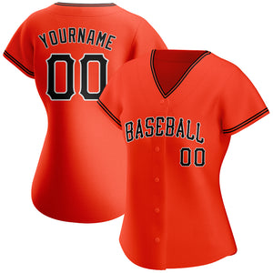 Custom Orange Black-White Authentic Baseball Jersey