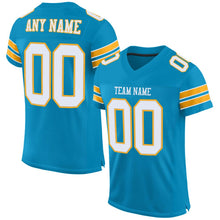 Load image into Gallery viewer, Custom Panther Blue White-Gold Mesh Authentic Football Jersey