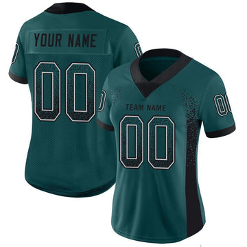 Custom Midnight Green Black-White Mesh Drift Fashion Football Jersey