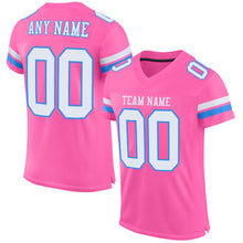 Load image into Gallery viewer, Custom Pink White-Powder Blue Mesh Authentic Football Jersey