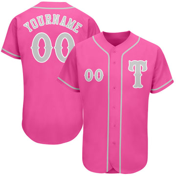 Custom Pink Gray-White Authentic Baseball Jersey
