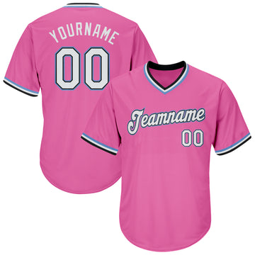 Custom Pink White-Light Blue Authentic Throwback Rib-Knit Baseball Jersey Shirt