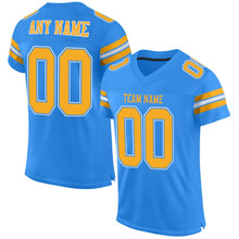 Load image into Gallery viewer, Custom Powder Blue Gold-White Mesh Authentic Football Jersey