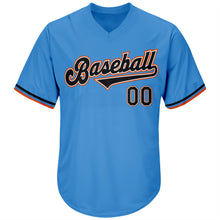 Load image into Gallery viewer, Custom Powder Blue Black-Orange Authentic Throwback Rib-Knit Baseball Jersey Shirt