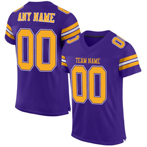 Custom Purple Gold-White Mesh Authentic Football Jersey