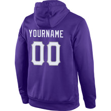 Load image into Gallery viewer, Custom Stitched Purple White-Gray Sports Pullover Sweatshirt Hoodie